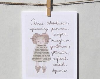 Aries card Astrology card Zodiac card Astrological sign card