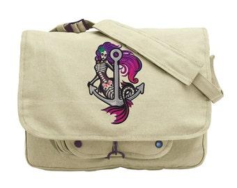 Mermaid Muerta Embroidered Canvas Messenger Bag
