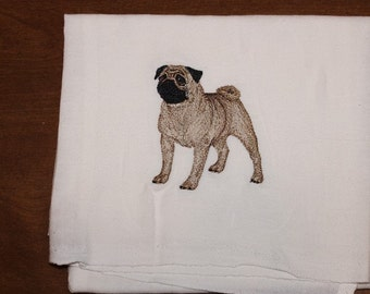 Machine Embroidered Show Stance Fawn Pug Flour Sack Dish Towel