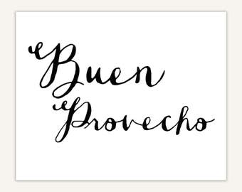 Spanish Quote Typography Art Print, dining room decor, Buen Provecho