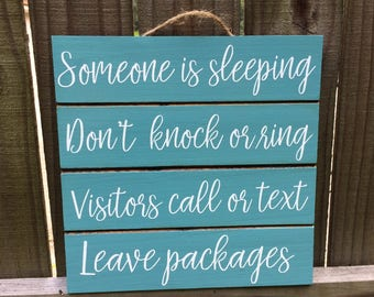 Someone Is Sleeping - Be Quiet Sign - Don't Wake Baby - Quiet Please - Night Shift Worker - Door Sign - Daytime Sleeper - Baby Shower Gift