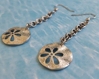 Sale! Silver Metal Sand Dollar Dangle Earrings: 0.75 Inch on Double Link Chains. Hang 2.5 Inches. Perfect for the Beach or Cruise!