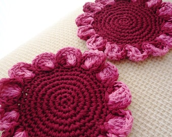 Flower Coasters - Crochet Coasters - Burgundy Coasters - Burgundy Flowers - Rustic Decor - Table Decor - Gift for Grandma - Gift for Mom