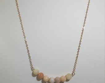 Rose Gold Necklace with Raw Opals.