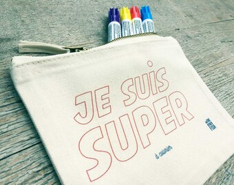 """I'm Super"" Kit, to customize, Tote, gift, shopping bag, bag fun, fabric, cotton bag, french"