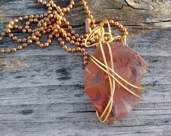 Raw Red Jasper Stone wrapped with Gold wire