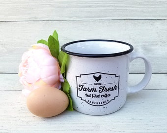 FARM FRESH But First Coffee White Speckled Ceramic Camp Mug 15oz.