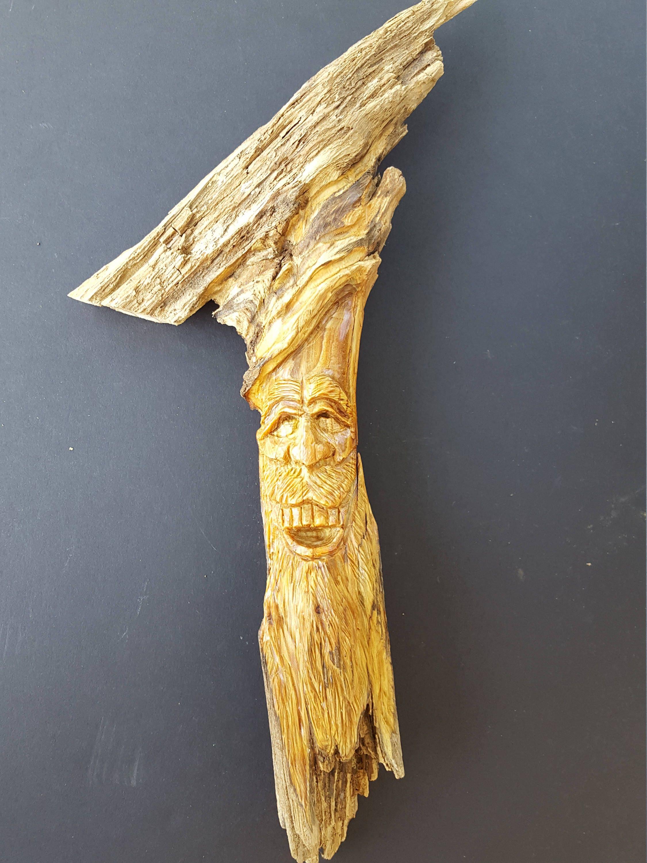Pine knot wood carving OOAK wood fellow wood spirit