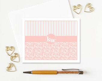 Bridesmaid Gifts | Personalized Stationery Set | Monogram Notecards | Paisley Folded Note Cards set of 10