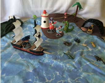 Large Pirates Play Scape Play Mat Playmat Play Set  with Wooden Ship and Lighthouse, Pirates etc