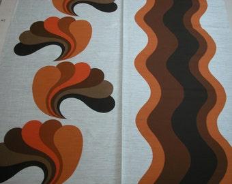 dutch FABRIC original 1970s / retro vintage flower power / new old stock /orange brown atomic / panton inspired / scandinavian danish design