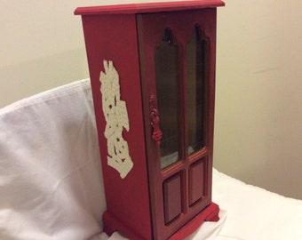 Vintage Ruby Red Tall Wadrobe Jewelry Box, Handpainted Shabby Heirloom,Jewelry Box, Upscaled Box, Keepsake Gift, Valentine