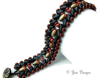 Beadweaving tutorial with IrisDuo, seedbeads and O beads, pattern for beaded bracelet, Blossom