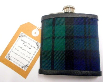 Black Watch Tartan hip flask ideal retirement  best man groomsman birthday or father's day present Scottish gift for men made in Scotland