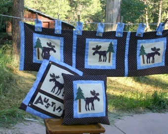 Personalized Room Decor Lodge Pillows Valance Woodland Moose Trees example