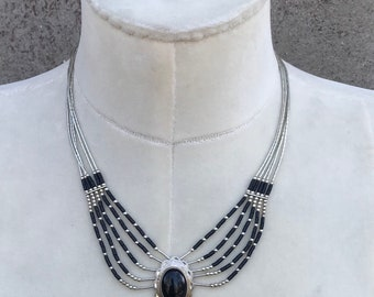 Vintage Navajo Inspired 5 Strand Liquid Silver Black Onyx Necklace  Boho