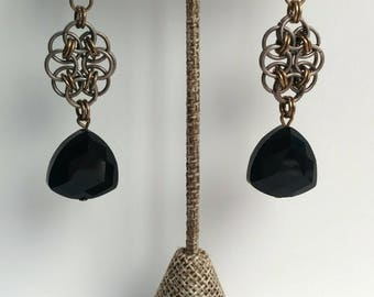 Jet Black Crystal Chain Maille Earring