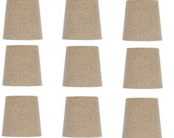 Beige Linen 4 Inch English Barrel Clip On Chandelier Shades (Set of 9)
