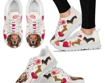 Valentine's Day Special Dachshund Dog Print Running Shoes For Women