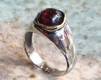 Garnet ring, two tones ring, silver gold ring, red stone engagement ring, modern ring, January birthstone ring, simple - Signs of life R2546