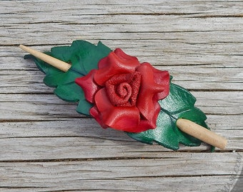 Red Rose Leather Shawl Pin or Ponytail Holder, Small Hair Slide or Scarf Clasp, Sculpted Leather Flower with Green Leaves, Boho Accessory