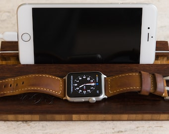 Docking Station Apple Watch Dock iPhone iWatch Monogram Personalized Men Phone Charging  Gift Initials