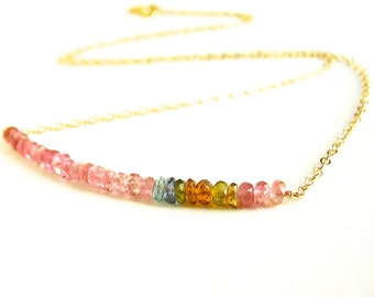 Watermelon Tourmaline Necklace. Faceted Watermelon Tourmaline Gold Chain Necklace.