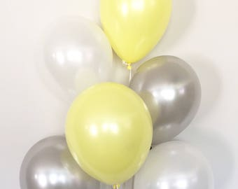 Yellow and Gray Balloon Bouquet | Gray and Yellow Balloons | Yellow Balloons | Yellow and Gray Baby Shower Decor | Gender Neutral Balloons