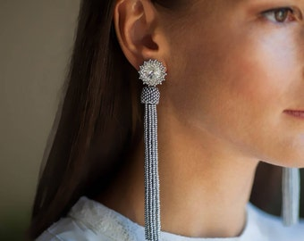 Silver beaded tassel earrings Long wedding earrings Fringe earrings BOHO wedding earrings Statement earrings Prom earrings Stud earrings