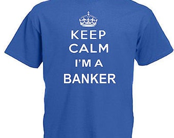 Keep calm banker children's kids t shirt