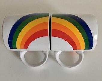 Vintage Rainbow mugs / Pair of 80's Rainbow  mugs /Rainbow coffee cups
