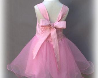 Soft pink, Flower girl, Tutu dress, Pink organza, Ruffled dress, Pink princess dress, Organza twirl dress, Pink party dress, Birthday tutu