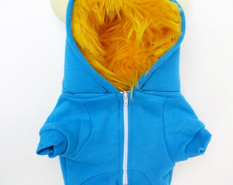 Dog  Monster Hoodie - Aqua with Yellow - Size Small - Pet - monster hoodie, horned sweatshirt, custom jacket