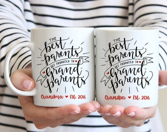Pregnancy Announcement to Grandparents Gift Pregnancy Reveal Grandma Mug Pregnancy Announcement Grandma and Grandpa Mug Set Grandma Mug Cute