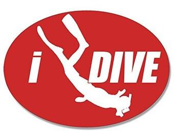 Oval I Dive Red Scuba Sticker (Scuba Diver Idive)