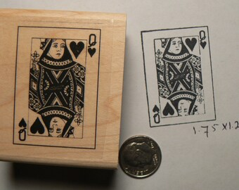 Queen of hearts card rubber stamp P49