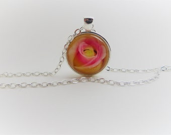 Pink rose Flower made in watercolor...1 inch Pendant, silver tone, necklace, 24 inch rolo chain, gift for her
