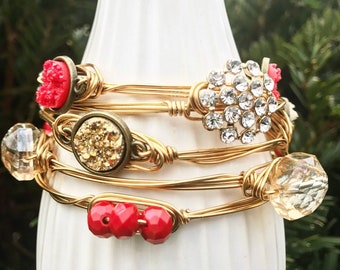 Sparkle, Red, and Gold Chic Wire Wrapped Bangle Set