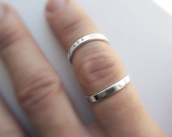 Thick Open Armor Ring - Double Knuckle Ring Minimal Modern Adjustable - Splint - Sustainable Sterling Silver 925 - Made to Order