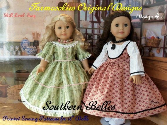 PRINTED SEWING PATTERN for 18 Inch Doll Clothes - Southern Belles by Farmcookies/ Fits Like American Girl Doll Clothes