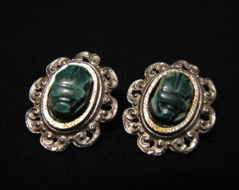 Vintage Silver Tone and Green Glass Scarab Oval Filigree Clip Earrings