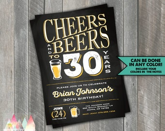 Cheers and Beers to 30 Years Birthday Invitation. Cheers and Beers to 30 Years. Cheers and Beers. 30th Birthday Party Invitation.
