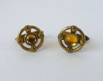 Men's Vintage 1930's Pierced Gold Round Cufflinks with Citrine Yellow Glass Gems