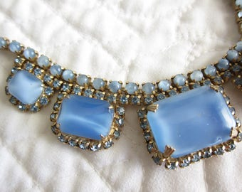 RESERVED  For Evelina until November 1 Blue Rhinestone Necklace Moonstone Glass Choker Necklace Vintage Jewelry Demi Parure  A114