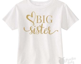 Big Sister Tee Shirt, Toddler Sibling T-shirt, Shirt for Big Sisters