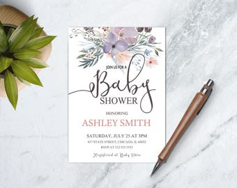 Baby Girl Boho Shower Printable Invite, Boho Floral Baby Shower Invitation, Boho Baby Invite, Bohemian Baby Girl Shower Invitation