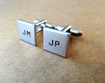 Personalized Cufflinks - Initials - Custom Square Cufflinks