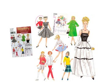 Fashion Doll Clothes Sewing Pattern Doll Blouse Doll Coat Doll Pants Doll Shorts Doll Evening Dress Doll Jacket Doll Skirt Simplicity 5785