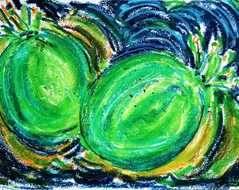 """Green Fruit 2, 7"""" x 10"""" original signed drawing fruit abstract"""