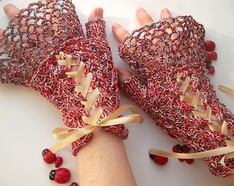 Crocheted Cotton Gloves L Ready To Ship Victorian Fingerless Summer Women Wedding Lace Evening Hand Knitted Party Multicolor Corset B69
